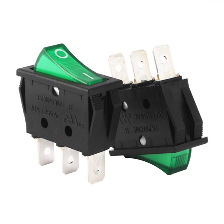 UL Listed 20A/125V 22A/250V SPST 3P 2 Position  Boat Rocker Switch ()