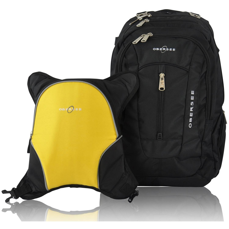 Obersee Bern Diaper Bag Backpack and Cooler, Black/Yellow