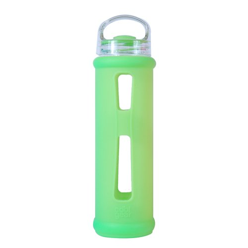 Cool Gear 19 oz Glass Bottle with Silicone Wrap Sleeve, Green