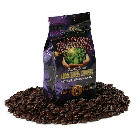 Kona Coffee Beans by Imagine - 100% Kona Hawaii - Medium Dark Roast Whole Bean 4 oz Bag (Kona Unit)