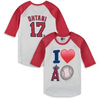 Shohei Ohtani Los Angeles Angels 5th & Ocean by New Era Girls Youth Emoji Love Player Raglan Three-Quarter Sleeve T-Shirt - White/Red