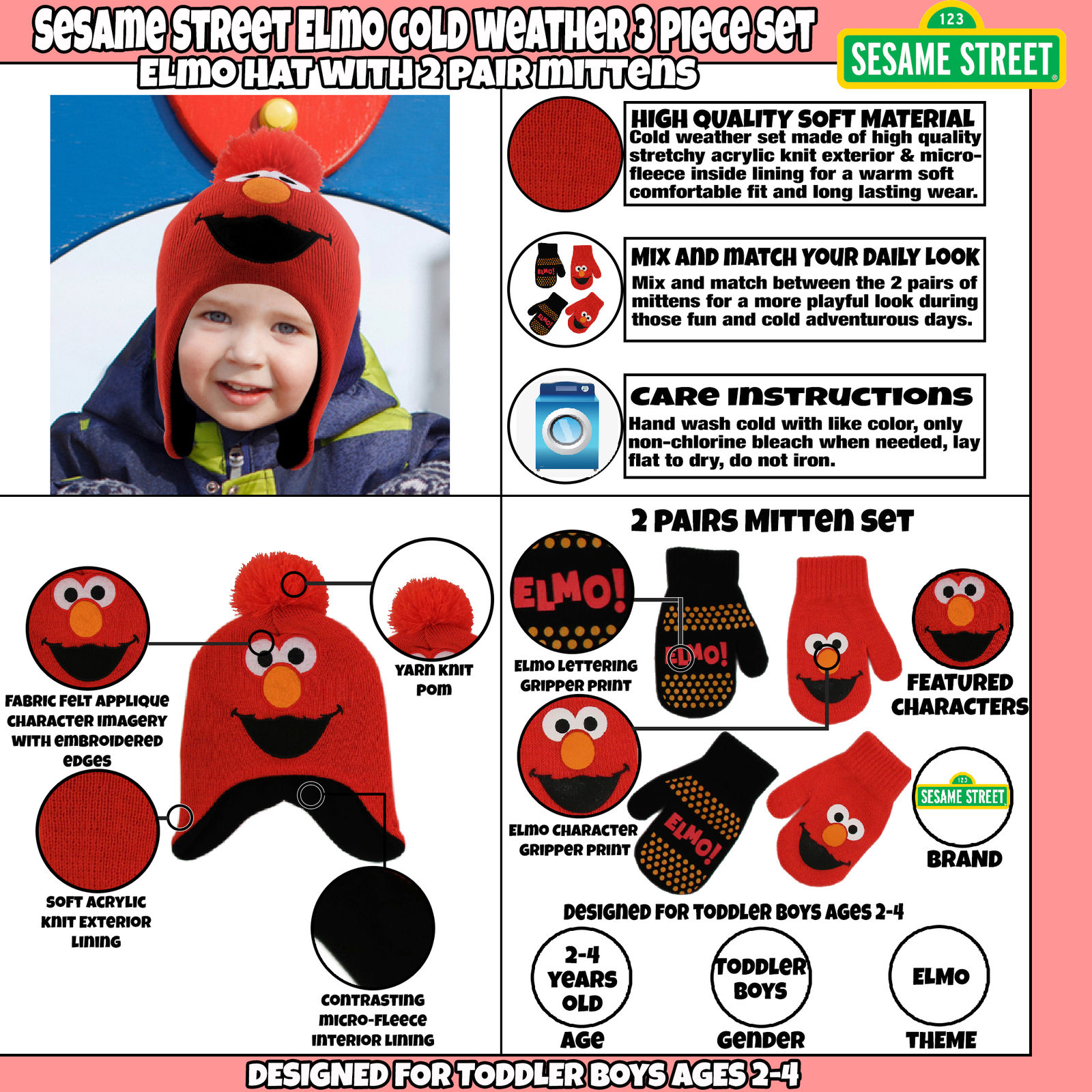 Toddler Boys Age 2-4 Sesame Street Elmo Hat and 2 Pair Mittens Cold Weather Set