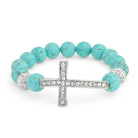 Sideways Cross Diagonal Compressed Turquoise Crystal Stretch Bracelet For Women For Teen Silver Plated Alloy