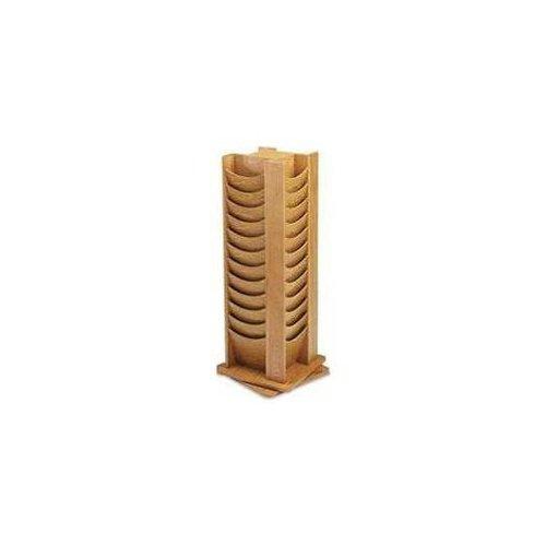 48 Pocket Oak Rotating Display Rack (Medium Oak) by Sandusky Buddy