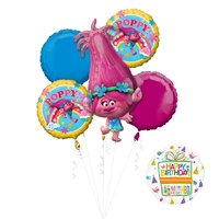 NEW TROLLS POPPY 6 pc Birthday Party Supplies And Balloon Bouquet Decorations