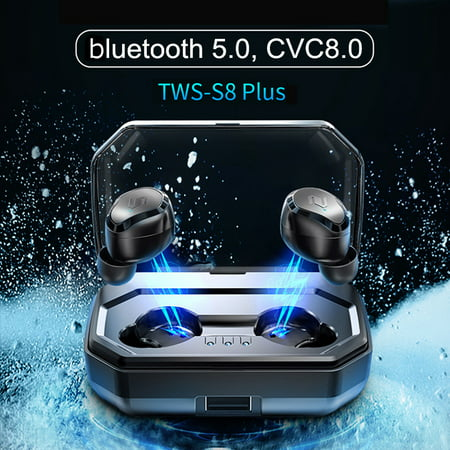 [CVC6.0 Noise Canceling] Mini Wireless bluetooth 5.0 Earbuds Touch Control Waterproof Earphones Headphones Auto Pairing With 3000mAh Charging Box Power
