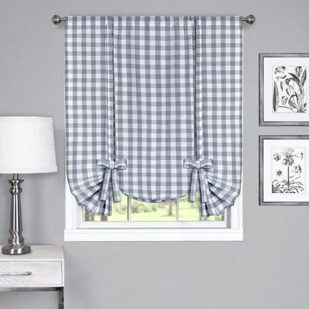 Elegance Gravy - Traditional Elegance Buffalo Check Window Curtain Tie Up Shade - 42x63 - Grey