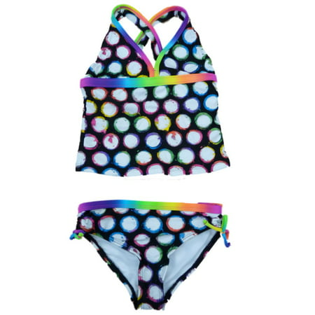 Angel Beach Girls Black Polka Dot Swimming Suit Swim Tankini Bathing Suit 2 PC