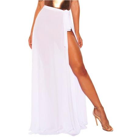 Womens Wrap High Waist Summer Beach Cover Up Maxi (Flirt Skirt Cover)