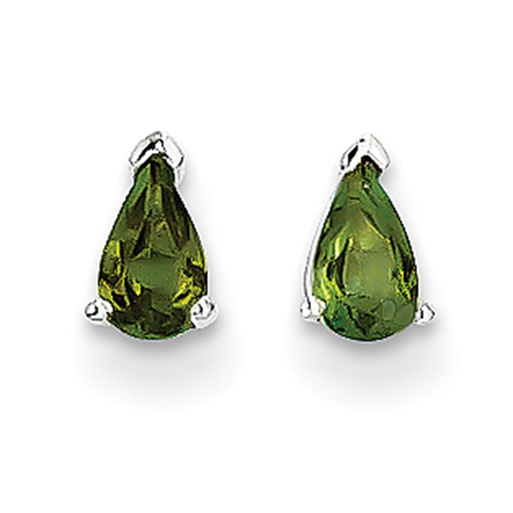 14k White Gold Polished 5mm x 3mm Pear Cut Green Tourmaline Post Stud Earrings by Fusion Collections