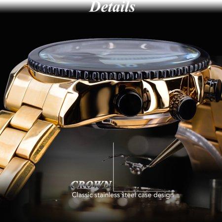 FORSINING Men Three Dials Stainless Steel Band Calendar Analog Watch Waterproof Automatic Mechanical Wrist Watch - image 3 of 7