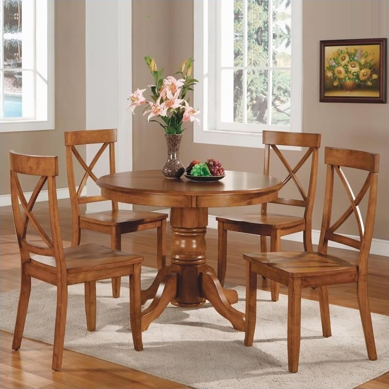 Home Styles 5 Piece Pedestal Dining Room Set, Cottage Oak by Home Styles