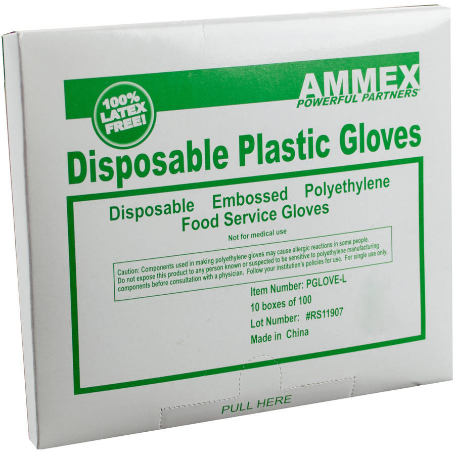 AMMEX Powder-Free Embossed Poly Gloves, 100 Count