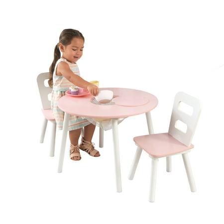 KidKraft Round Storage Table & 2 Chairs Set-White & Pink