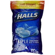 HALLS Mentho-Lyptus Menthol Cough Suppressant/Oral Anesthetic,  Pack Of 200 Count Menthol 200 Drops