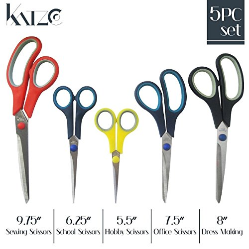 5 Pieces Scissors Stainless Steel Comfort Grip Multi-Purpose Scissors Set - For Fabric, Leather, Canvas, Vinyl, Paper, Clothes, Shoes, Belts, Bags, Kitchen, Arts and Crafts, & School - By Katzco
