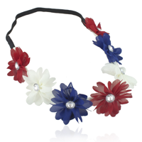 Lux Accessories Red White Blue American Flag 4th Of July Independence Floral Flower Stretch Crystal Headband Head Band