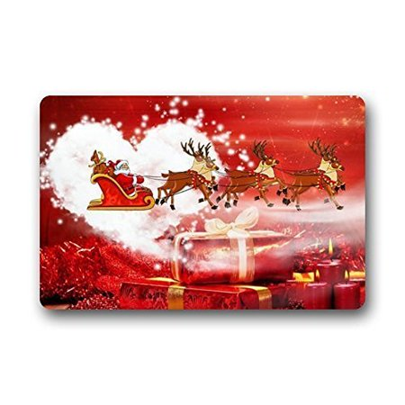 WinHome Father Christmas Happy Holiday Doormat Floor Mats Rugs Outdoors/Indoor Doormat Size 23.6x15.7 inches Holiday Floor Mat