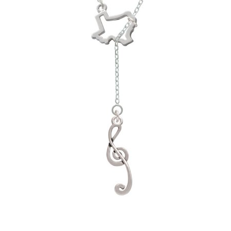 Long Lariat - Long Curly Clef Open Texas Lariat Necklace