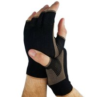 Unisex Open Finger Copper Threaded Arthritis Support Compression Gloves For Joint Pain Relief