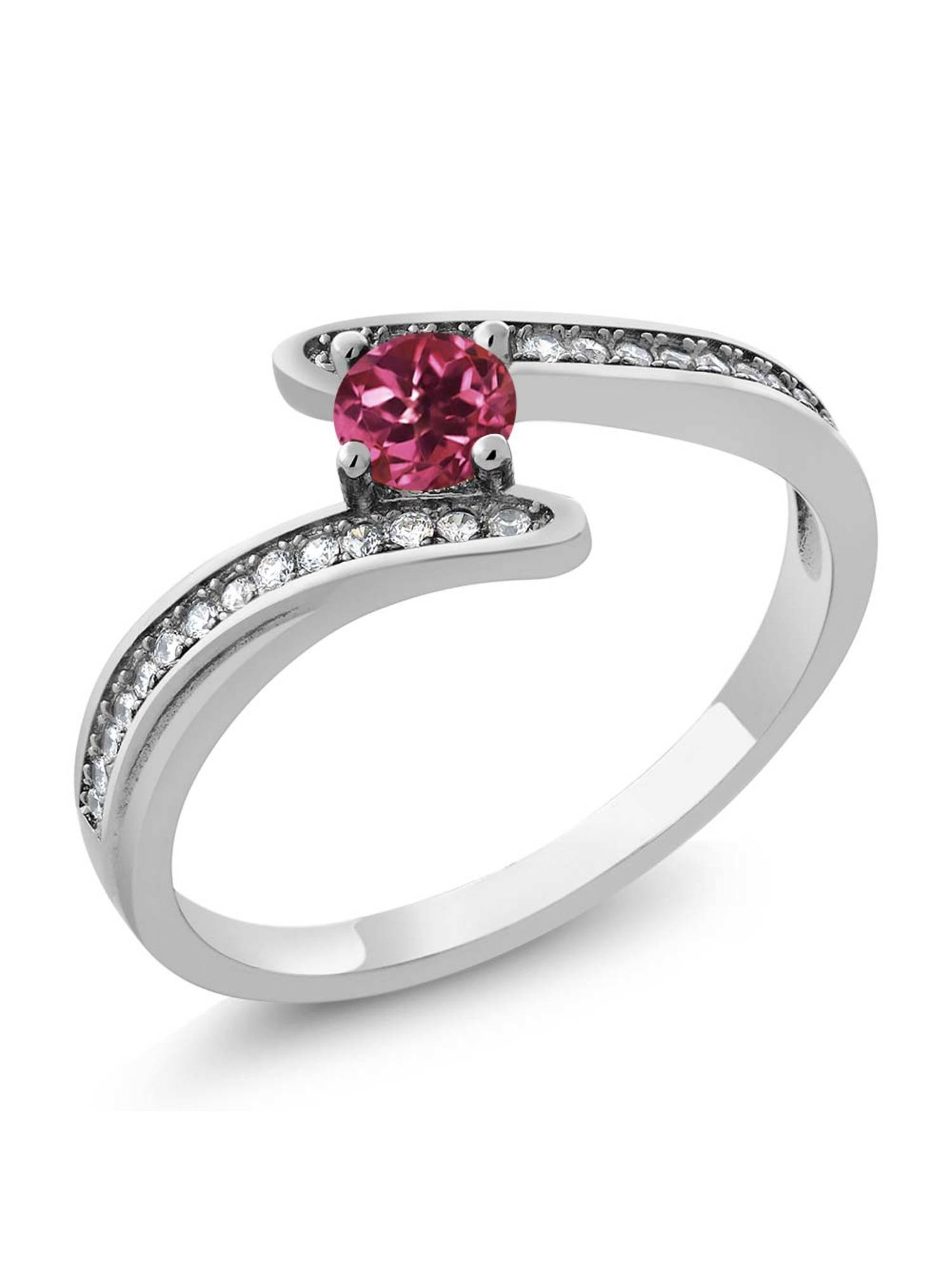 0.67 Ct Round Pink Tourmaline Platinum Plated Swirl 925 Sterling Silver Ring by