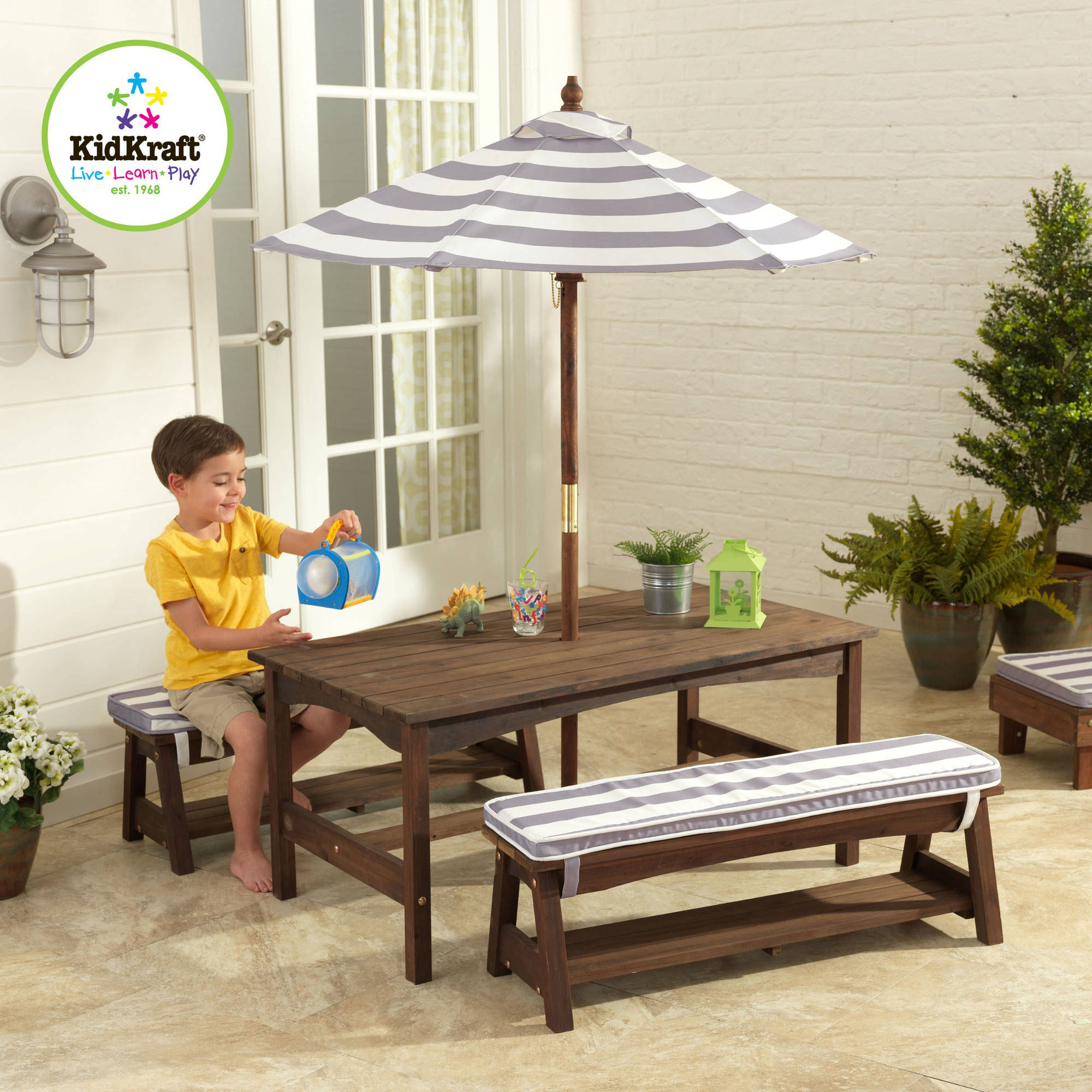 Kidkraft Outdoor Table And Bench Set Gra   Walmart.com