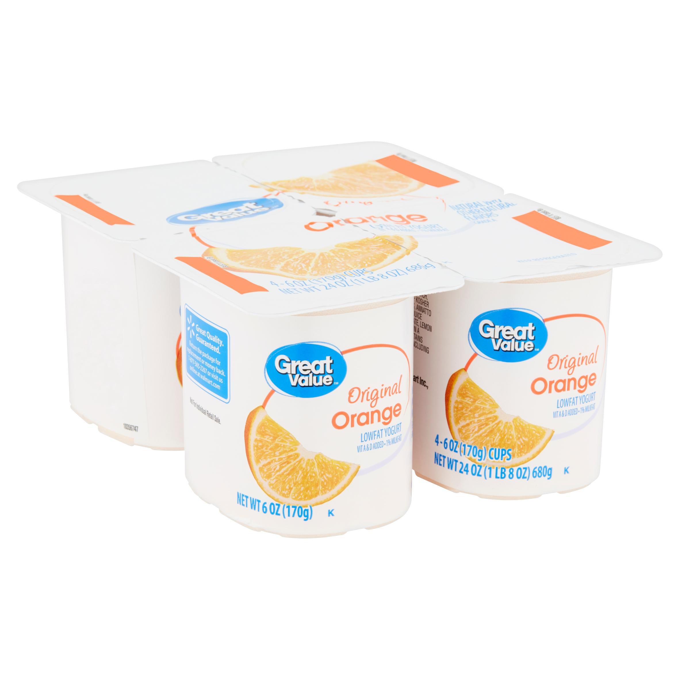 Great Value Original Orange Lowfat Yogurt, 6 oz, 4 count