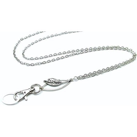 Women's Lanyard Necklace, Silver Fashion ID Badge Holder, Key Chain with Silver Elegant Leaf Pendant on Strong Textured Chain Magnetic Break Away Clasp, Collection](Junior Firefighter Badge)