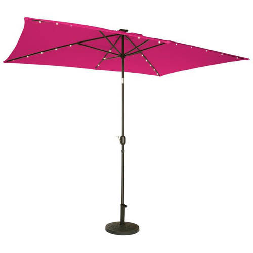Rectangular Solar Powered LED Lighted Patio Umbrella, 10' x 6.5', By Trademark... by Trademark Innovations
