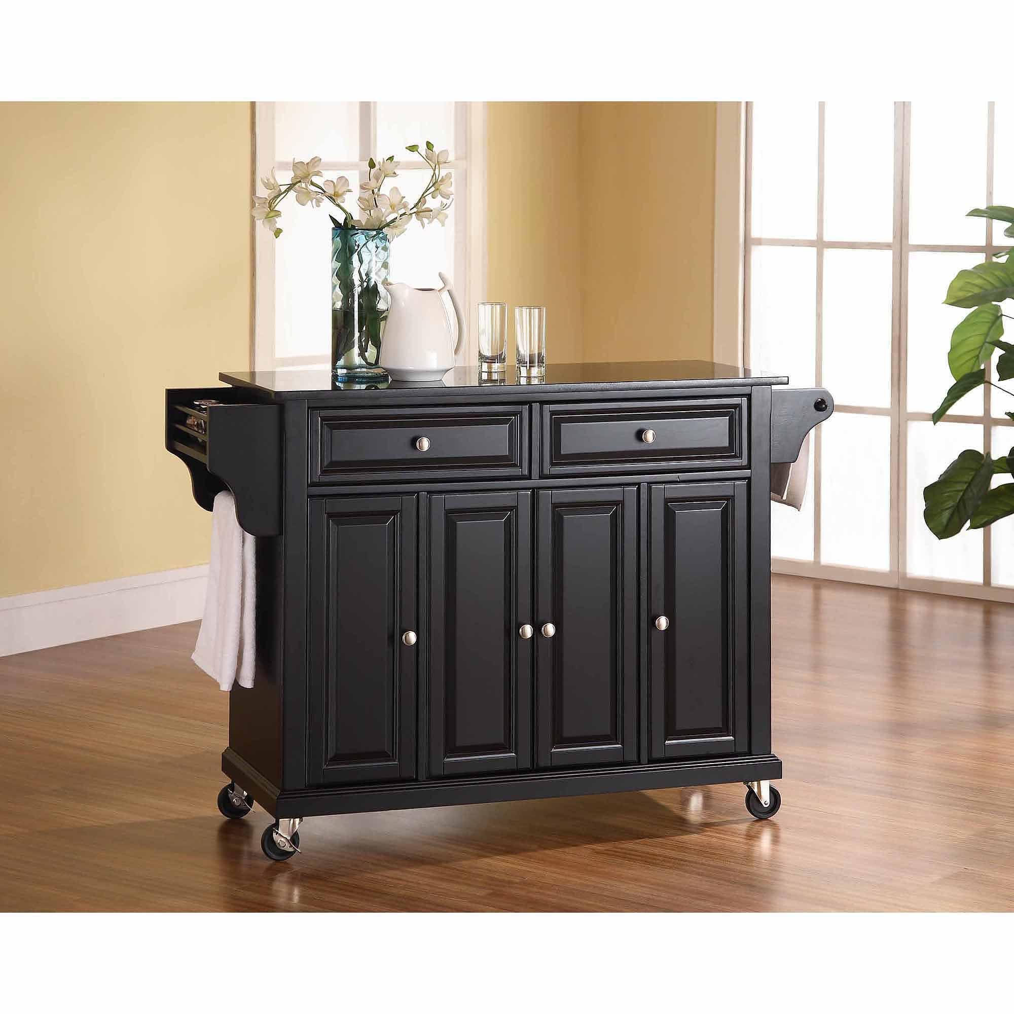 Crosley Kitchen Cart With Granite Top Crosley Furniture Solid Black Granite Top Kitchen Cart Walmartcom