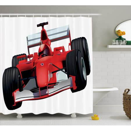 Cars Shower Curtain Formula Race Car With The Driver Automobile Sports Theme Strong Engine Print Fabric Bathroom Set Hooks 69W X 70L Inches