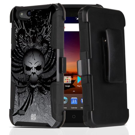 ZTE ZFive G LTE Z557BL Case - Dual Layer [Heavy Duty Protection] Rugged Kickstand Case (Skull Wings) with Rotatable Belt Holster Clip and Atom Cloth for ZTE ZFive G LTE Z557BL (Skull Belt)