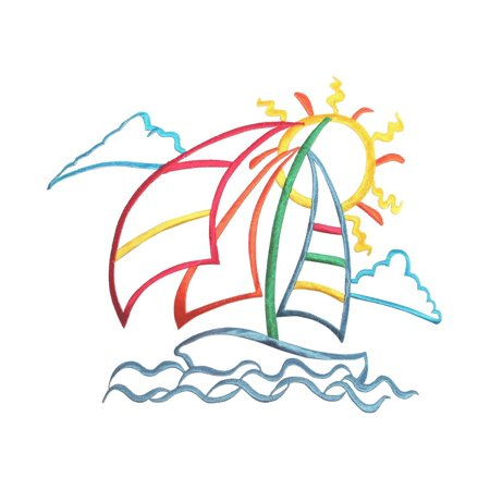 ID 5010 Sail Boat Outline Large Patch Ocean Sea Embroidered Iron On Applique