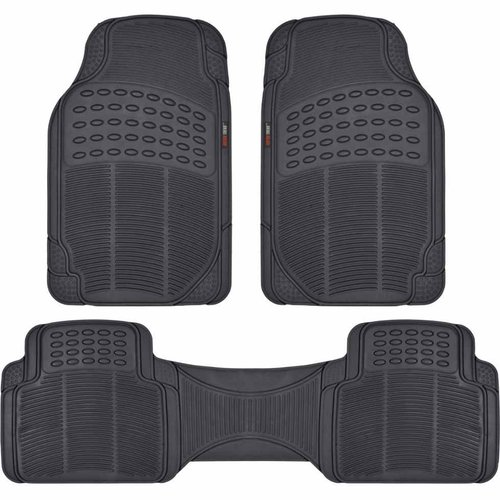 Motor Trend 3-piece Premium Rubber Floor Mats, Heavy-Duty All-Weather Protection for Cars Trucks Vans and SUVs
