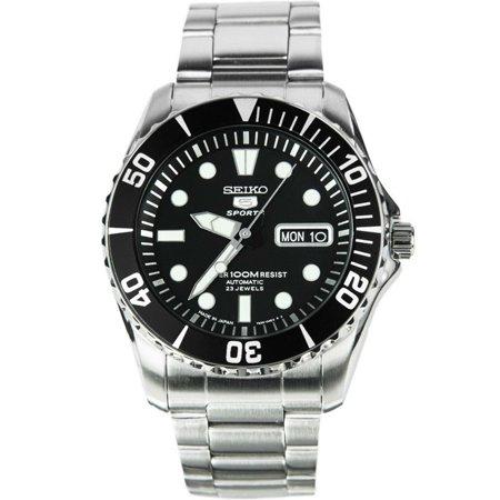 SEIKO SNZF17J1,Men's Automatic Sports,Self Winding,Stainless Steel Case and bracelet,Screw Back,100m WR,SNZF17 - Kansas Jayhawks Sport Steel Watch