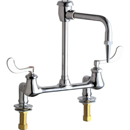 Chicago Faucets 947 317 Bridge Style Lab Faucet With Wrist Blade Handles And Hig