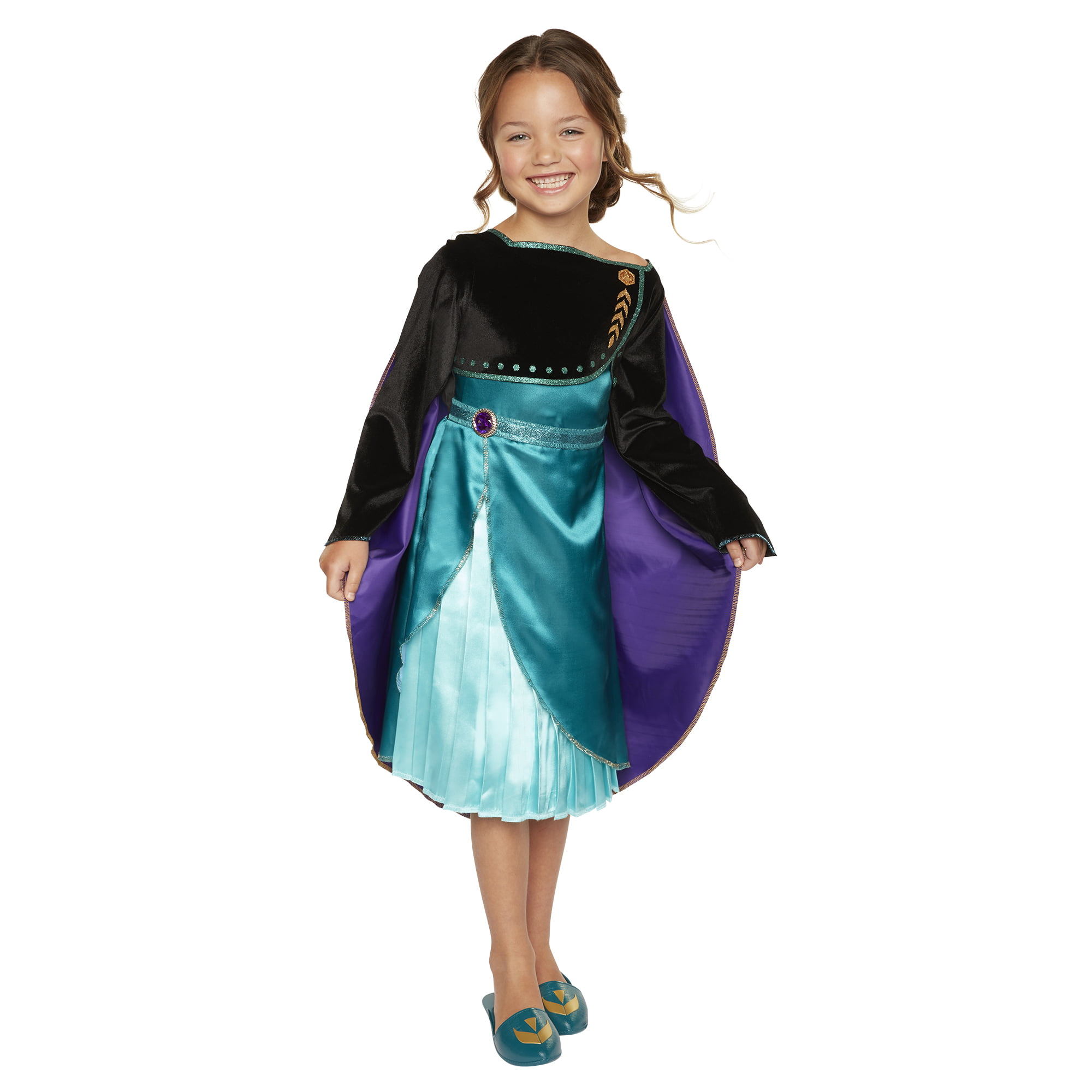 Disney Frozen 2 Queen Anna Dress - Outfit Fits Sizes 4-6X - Costume for Girls Ages 3+