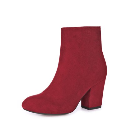 Unique Bargains Women's Round Toe Side Zipper Chunky Heel Ankle Boots - Red Go Go Boots