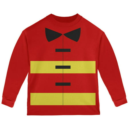 Halloween Fireman Costume Red Toddler Long Sleeve T-Shirt - Toddler Fireman Halloween Costume