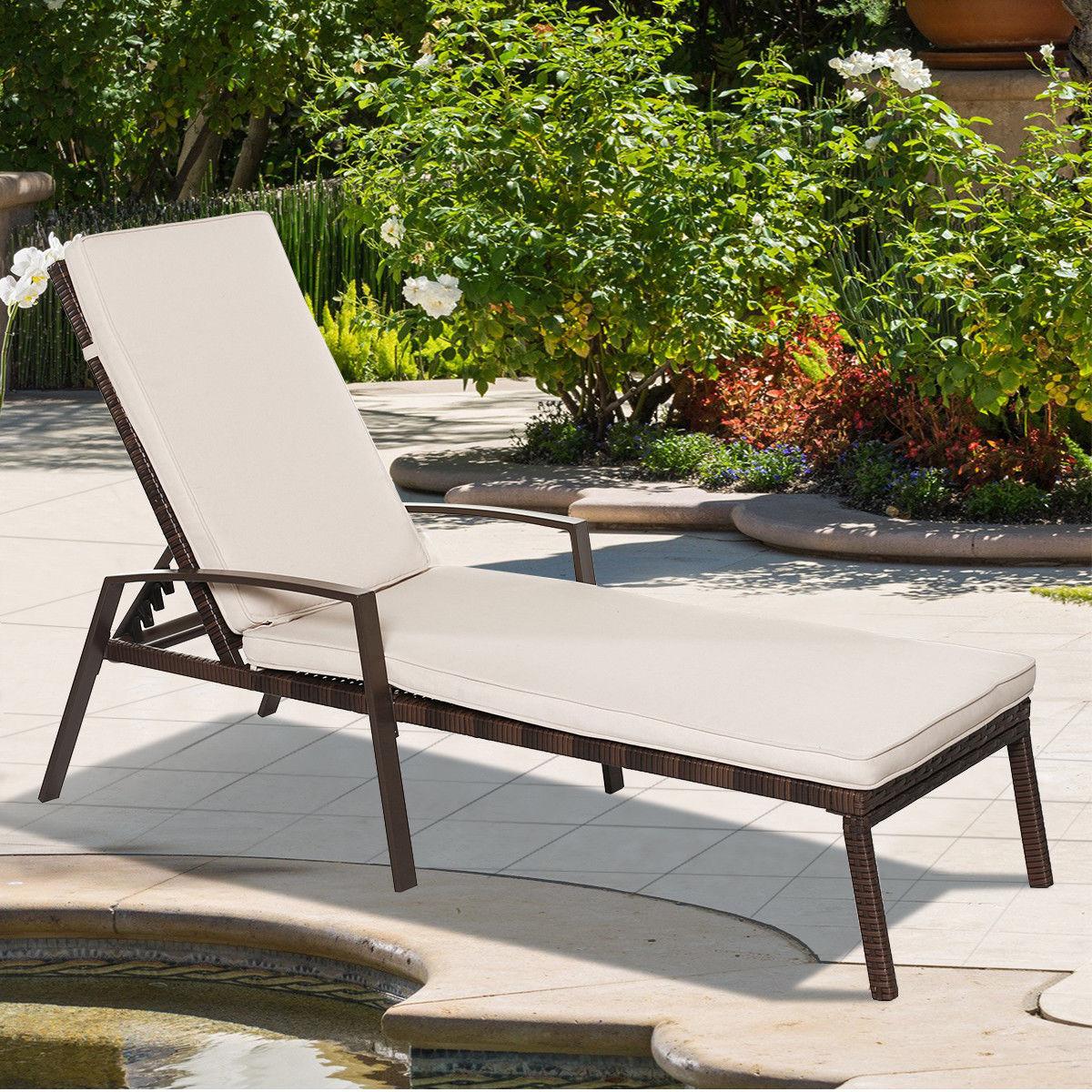 2pcs Patio Rattan Lounge Chair Garden Furniture Adjustable Back W/ Cushion - image 6 of 10