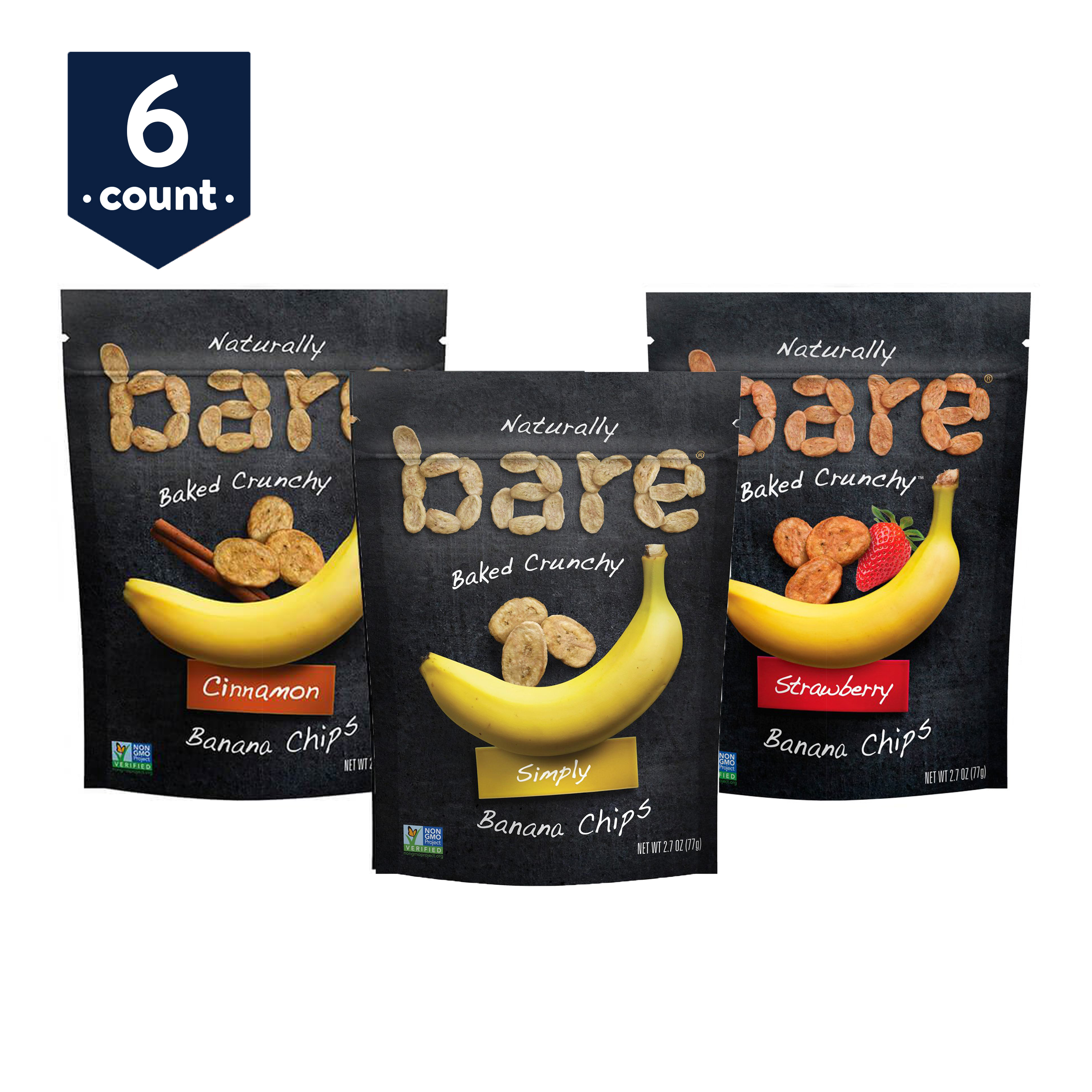 bare Baked Crunchy Banana Chips Variety Snack Pack, Simply, Cinnamon, and Strawberry, 2.7 oz Bags, 6 Count