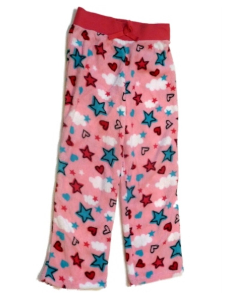 Jellifish Girl Pink Fleece Star Heart Sleep Pants Heart Pajama Bottoms Lounge