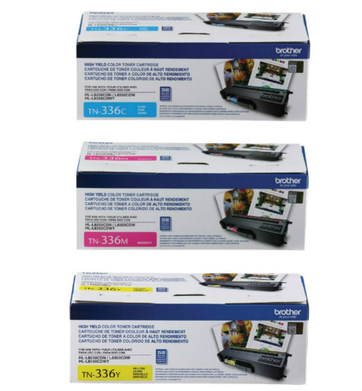 Brother Genuine TN-336C, TN-336M, TN-336Y (TN336C, TN336M, TN336Y) High Yield Cyan, Magenta and Yellow Toner Cartridge Set