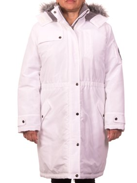 Pink Platinum Junior Plus Size Expedition Anorak Puffer Coat with Berber-Lined and Faux Fur Trimmed Hood