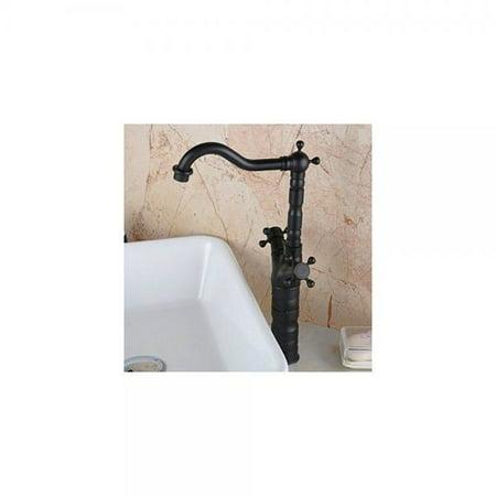 Hiendure Centerset Two Handles Brass Bathroom Vessel Sink Lavatory