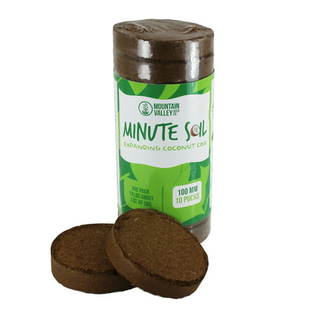 Minute Soil - Compressed Coco Coir Fiber Grow Medium - 100 MM Discs - 10 Pack = 4.25 Gallons of Potting Soil - Gardening, House Plants, Flowers, Herbs, Microgreens, Wheatgrass - Just Add Water -