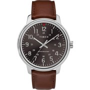 Timex TW2R85700 Men's Classic Brown Leather Band Black Dial 3-Hand Analog Watch