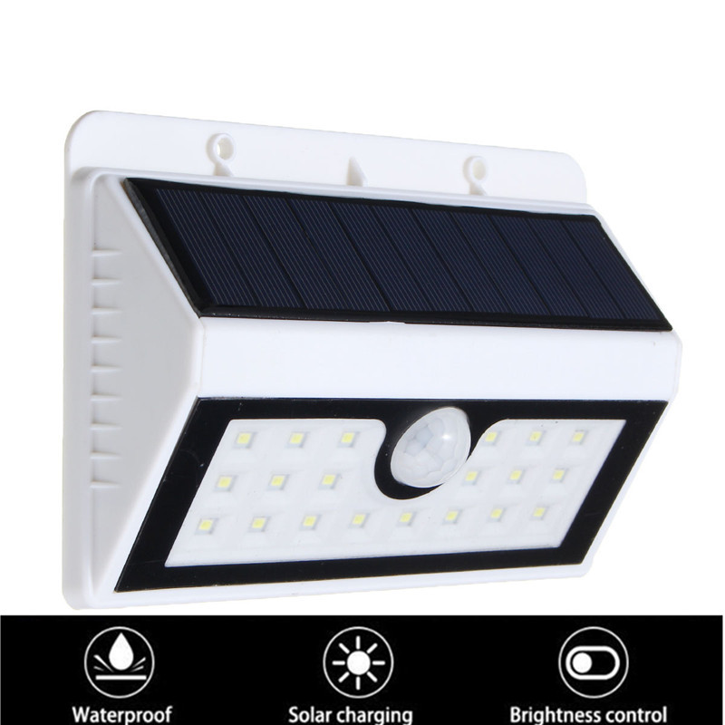 6-8M 20LED Solar PIR Powered Motion Sensor Garden Lamp Security Wall Light Fence Patio Night Light Path Lighting