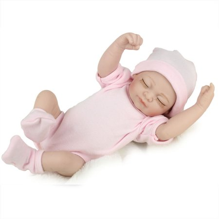 11'' Reborn Newborn Sleeping Baby Doll Girl Realistic Looking Soft Silicone Vinyl Dolls for Children Toddler Gifts for Ages