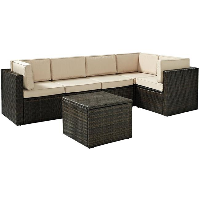 Palm Harbor 6-Piece Outdoor Wicker Sectional Seating Set with Sand Cushions - Brown